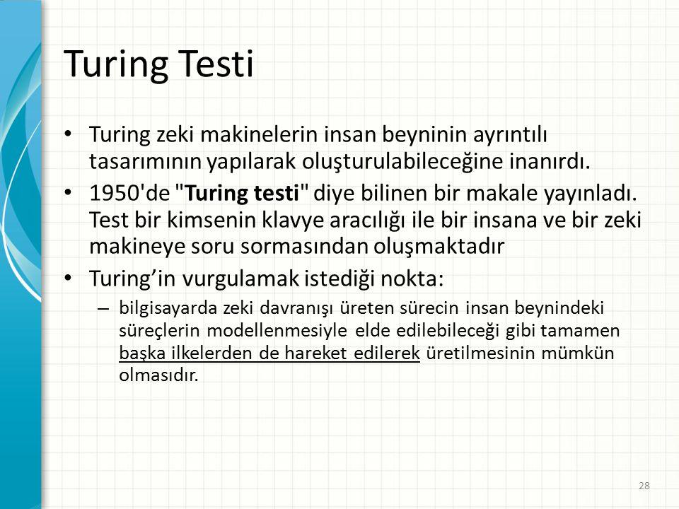 Turing Testi Turing zeki makinelerin insan beyninin ayrıntılı tasarımının yapılarak oluşturulabileceğine inanırdı.