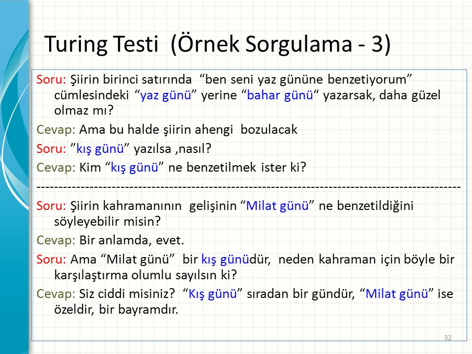 Turing Testi (Örnek Sorgulama - 3)