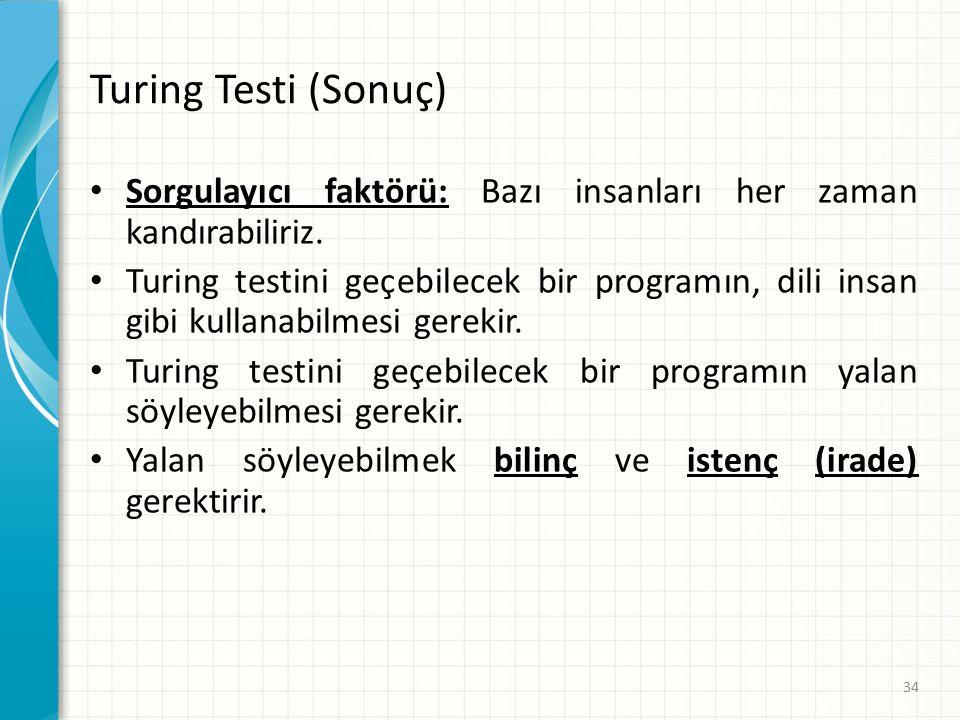 Turing Testi (Sonuç) Sorgulayıcı faktörü: Bazı insanları her zaman kandırabiliriz.