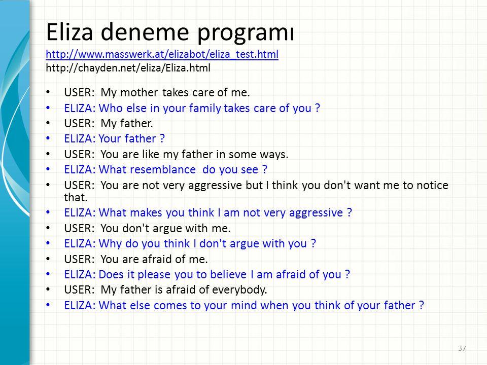 Eliza deneme programı http://www. masswerk. at/elizabot/eliza_test