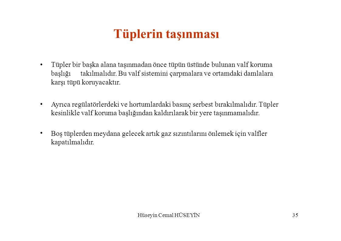 Tüplerin taşınması • Tüpler bir başka alana taşınmadan önce tüpün üstünde bulunan valf koruma. başlığı.