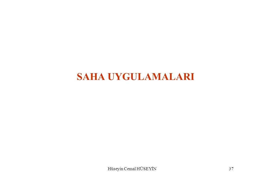 SAHA UYGULAMALARI Hüseyin Cemal HÜSEYİN 37