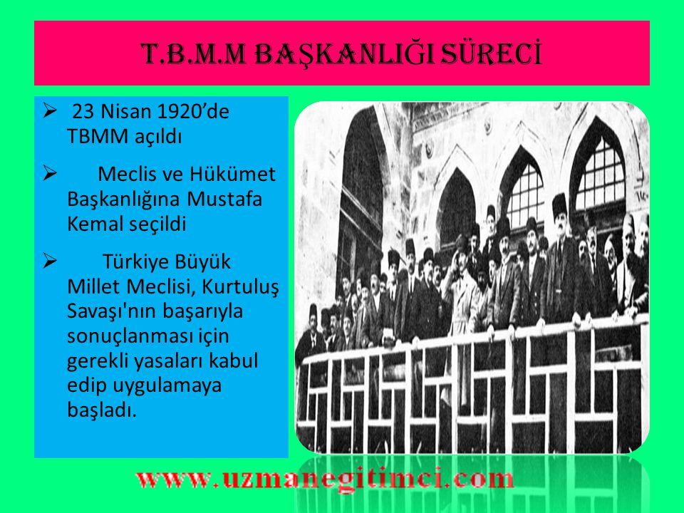 T.B.M.M BAŞKANLIĞI SÜRECİ