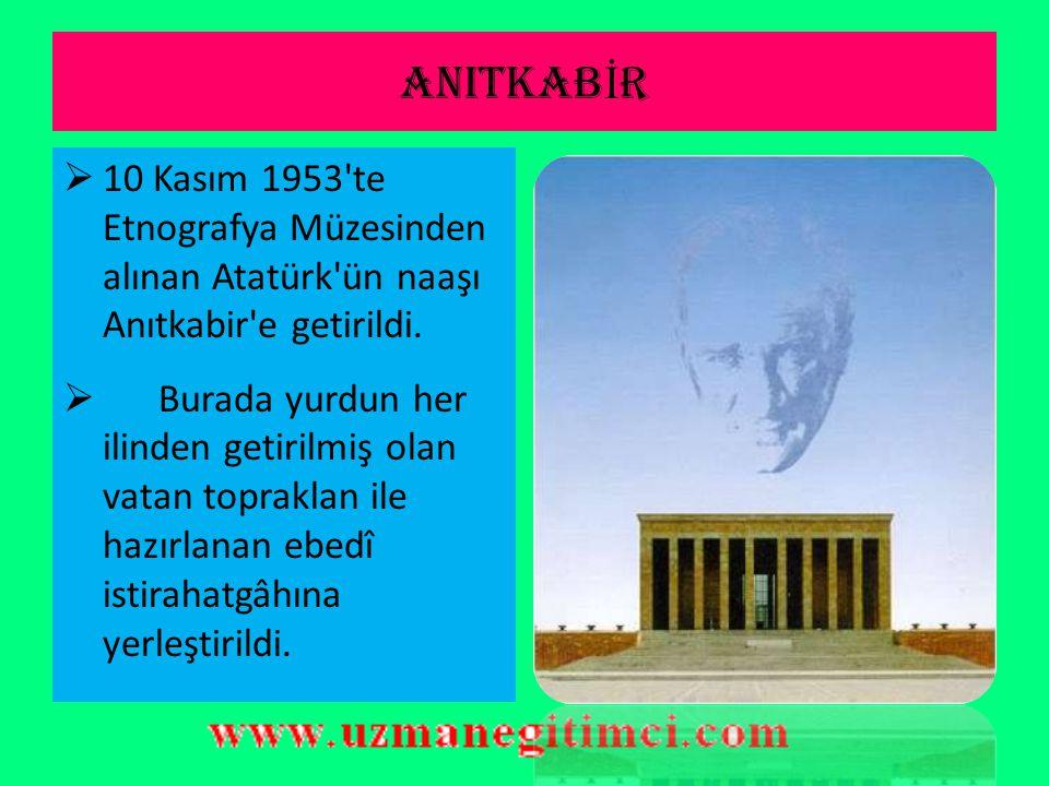 ANITKABİR 10 Kasım 1953 te Etnografya Müzesinden alınan Atatürk ün naaşı Anıtkabir e getirildi.