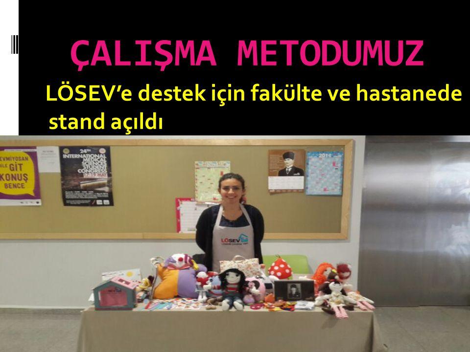 ÇALIŞMA METODUMUZ LÖSEV'e destek için fakülte ve hastanede stand açıldı
