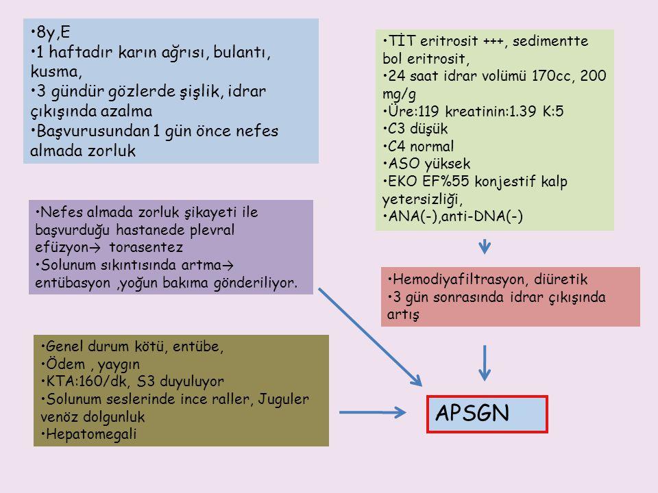 APSGN 8y,E 1 haftadır karın ağrısı, bulantı, kusma,