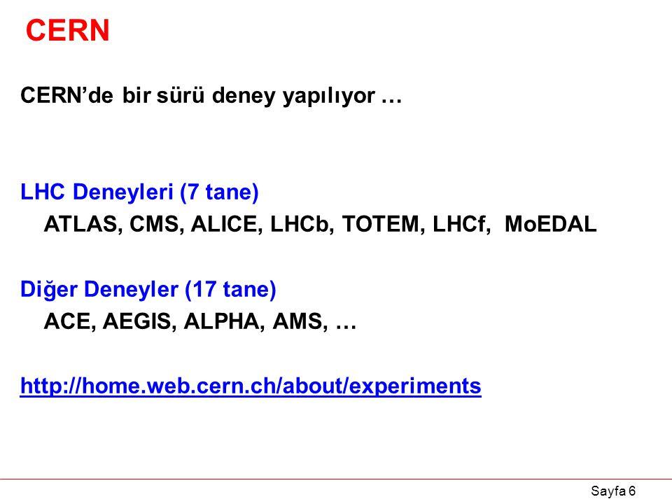 CERN CERN'de bir sürü deney yapılıyor … LHC Deneyleri (7 tane)
