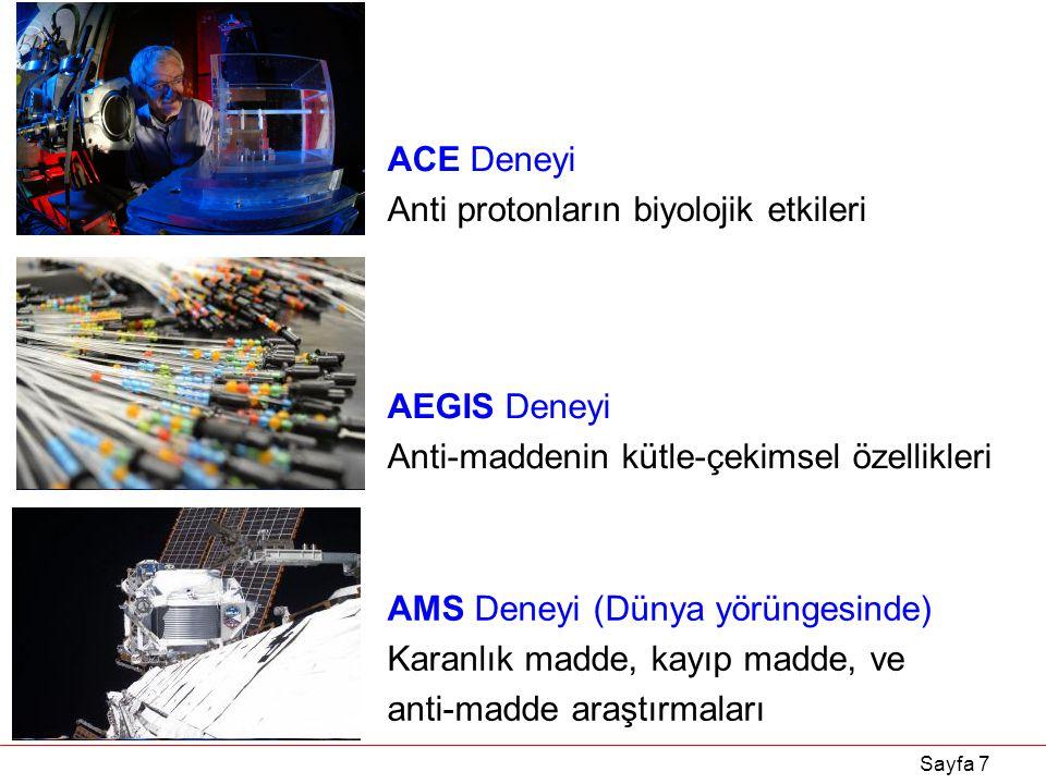 ACE Deneyi Anti protonların biyolojik etkileri. AEGIS Deneyi. Anti-maddenin kütle-çekimsel özellikleri.
