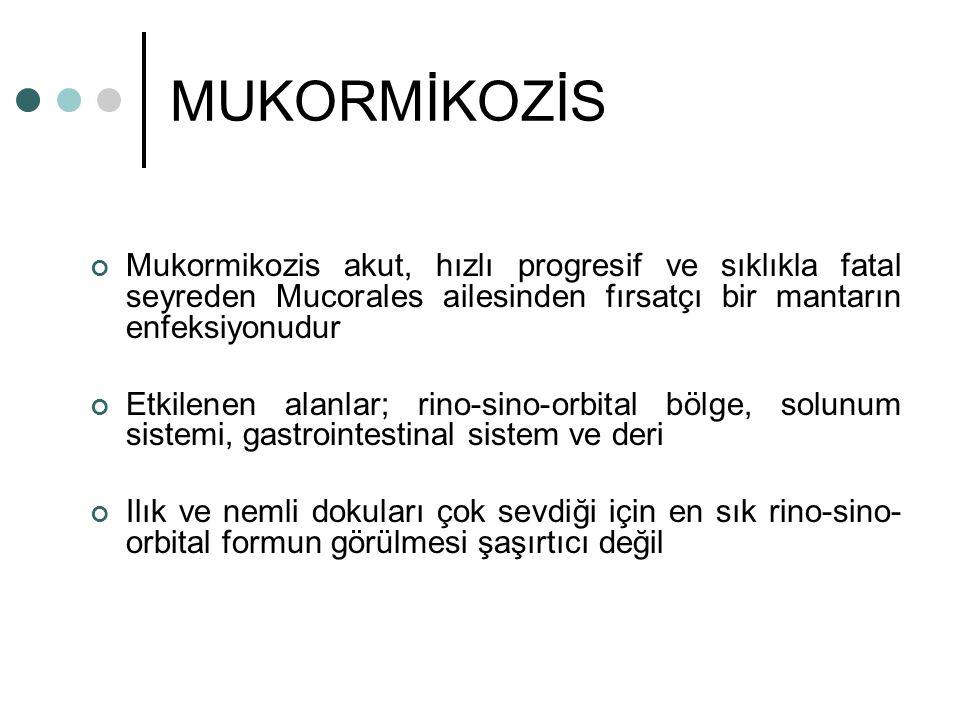 MUKORMİKOZİS Mukormikozis akut, hızlı progresif ve sıklıkla fatal seyreden Mucorales ailesinden fırsatçı bir mantarın enfeksiyonudur.