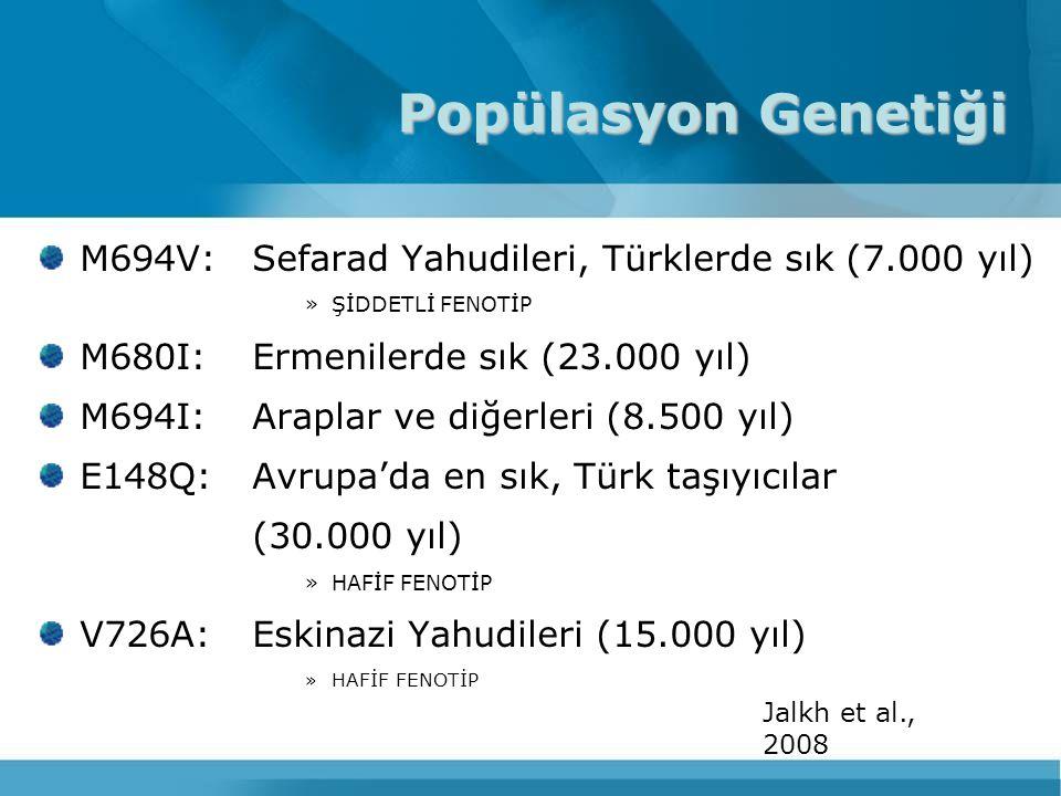 Popülasyon Genetiği M694V: Sefarad Yahudileri, Türklerde sık (7.000 yıl) ŞİDDETLİ FENOTİP. M680I: Ermenilerde sık (23.000 yıl)