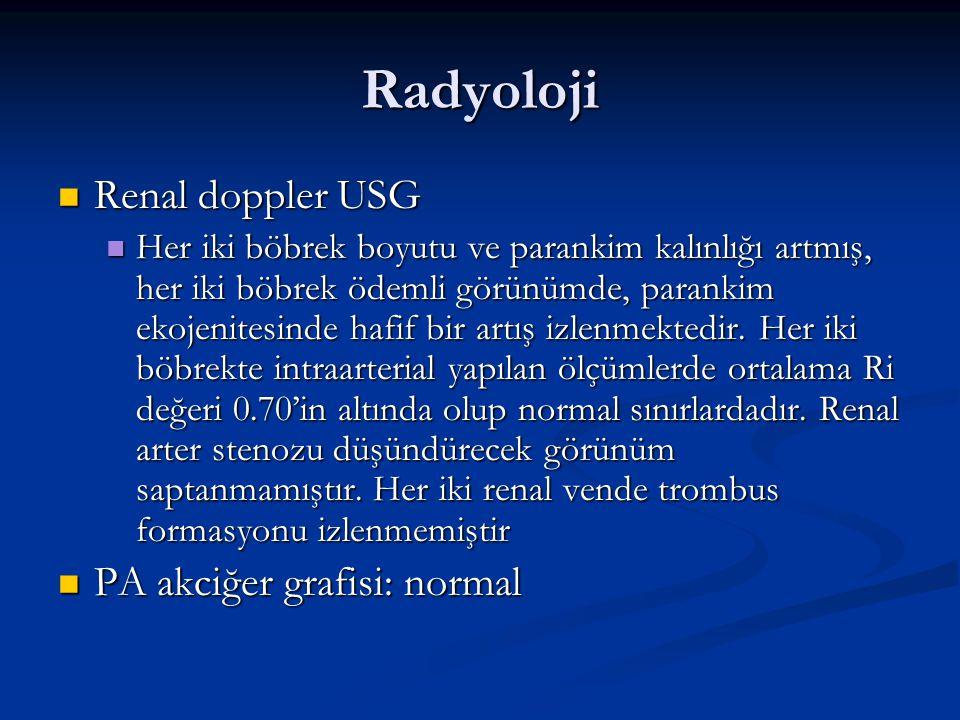 Radyoloji Renal doppler USG PA akciğer grafisi: normal