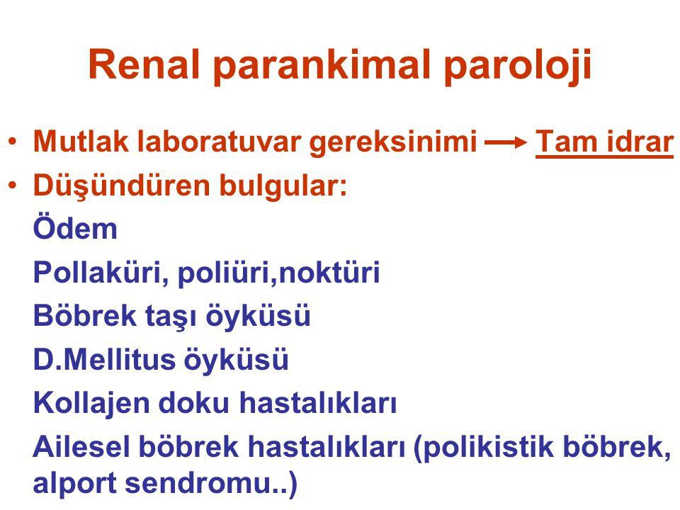 Renal parankimal paroloji