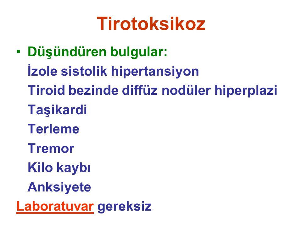 Tirotoksikoz Düşündüren bulgular: İzole sistolik hipertansiyon