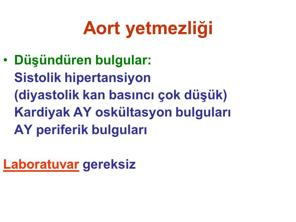 Aort yetmezliği Düşündüren bulgular: Sistolik hipertansiyon