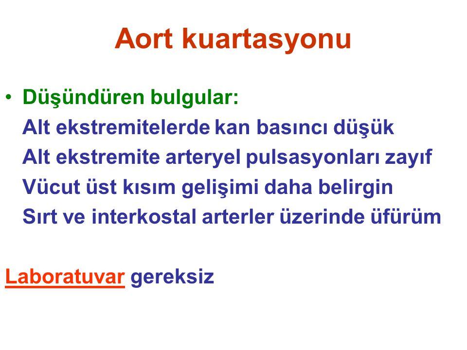 Aort kuartasyonu Düşündüren bulgular: