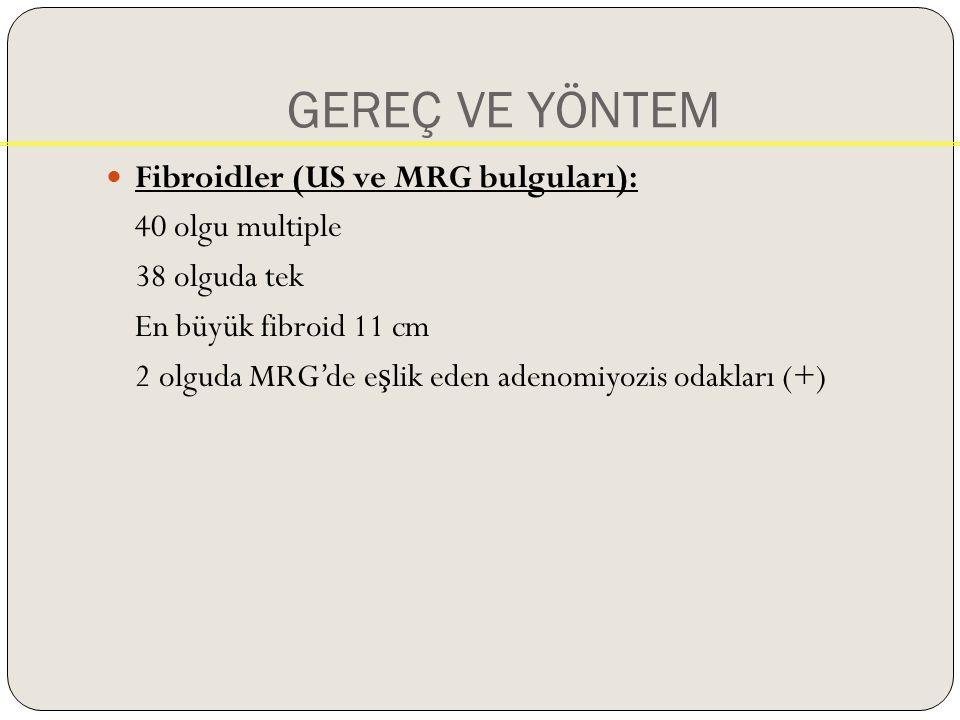 GEREÇ VE YÖNTEM Fibroidler (US ve MRG bulguları): 40 olgu multiple