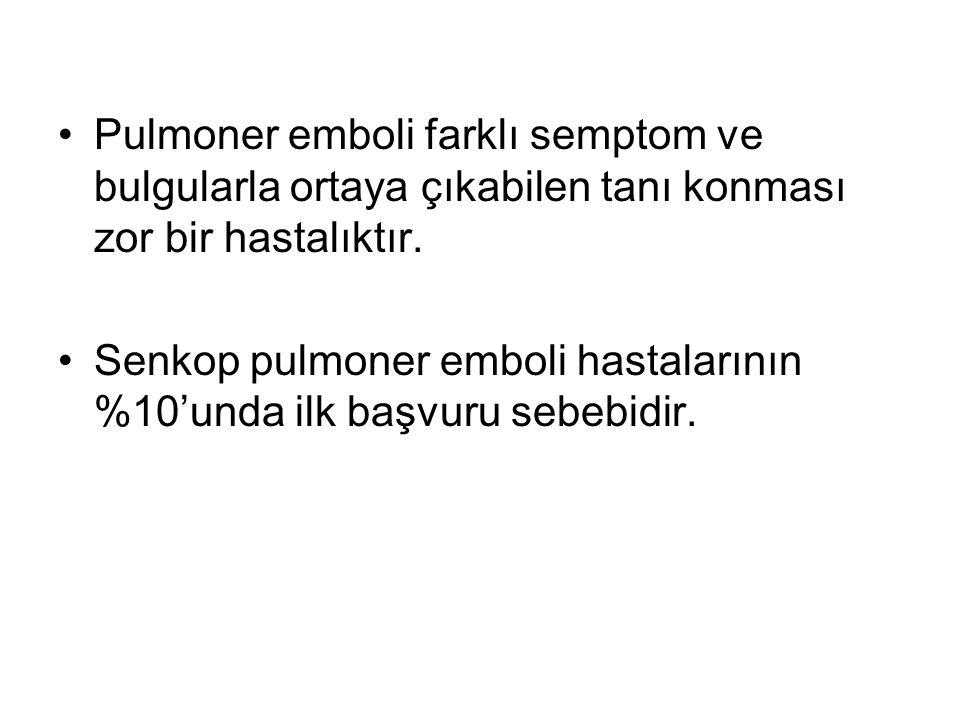 Pulmoner emboli farklı semptom ve bulgularla ortaya çıkabilen tanı konması zor bir hastalıktır.