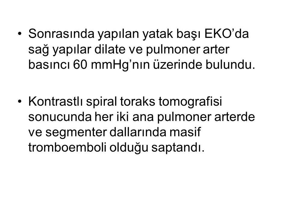 Sonrasında yapılan yatak başı EKO'da sağ yapılar dilate ve pulmoner arter basıncı 60 mmHg'nın üzerinde bulundu.