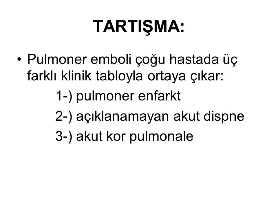 TARTIŞMA: Pulmoner emboli çoğu hastada üç farklı klinik tabloyla ortaya çıkar: 1-) pulmoner enfarkt.