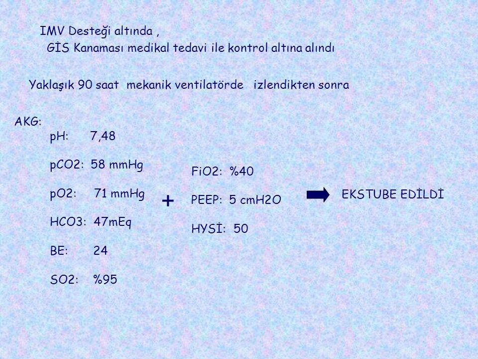 IMV Desteği altında , GİS Kanaması medikal tedavi ile kontrol altına alındı. Yaklaşık 90 saat mekanik ventilatörde izlendikten sonra.