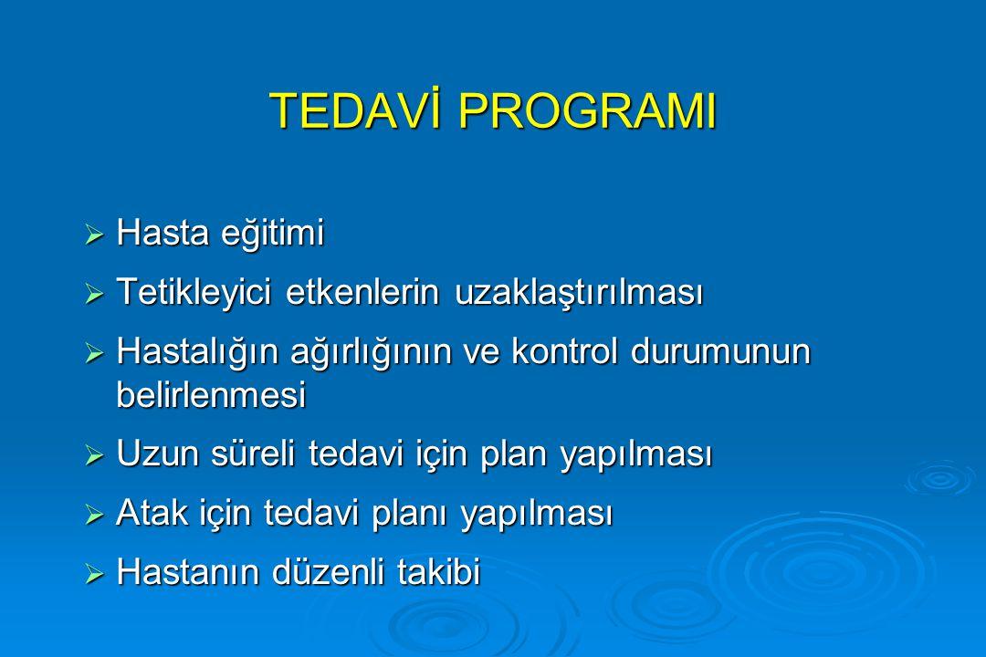 TEDAVİ PROGRAMI Hasta eğitimi Tetikleyici etkenlerin uzaklaştırılması