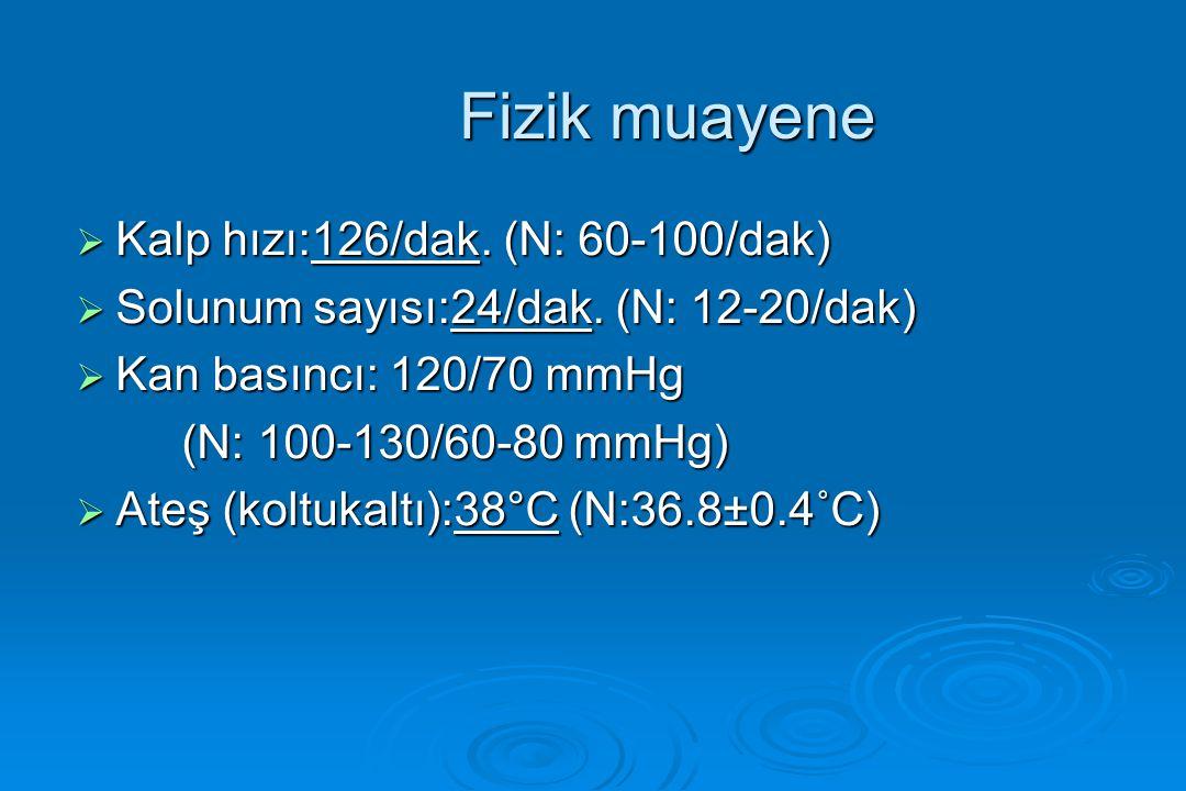 Fizik muayene Kalp hızı:126/dak. (N: 60-100/dak)