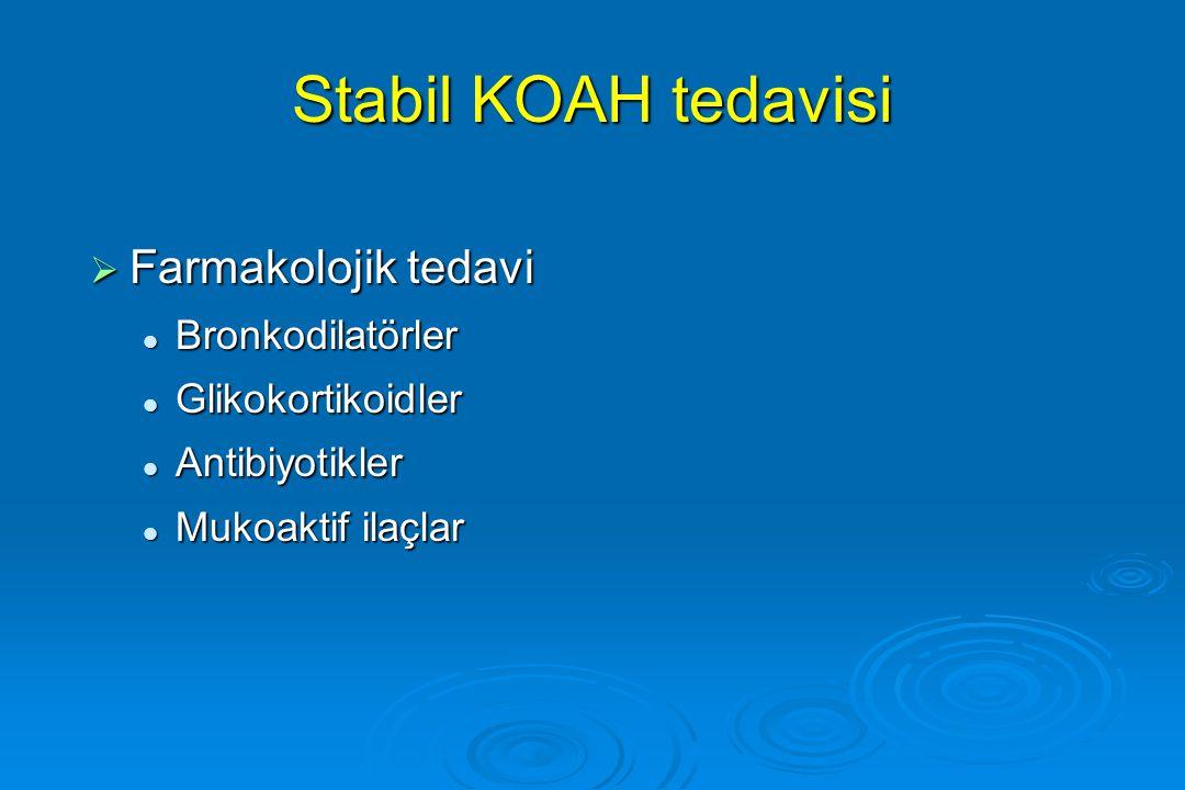 Stabil KOAH tedavisi Farmakolojik tedavi Bronkodilatörler
