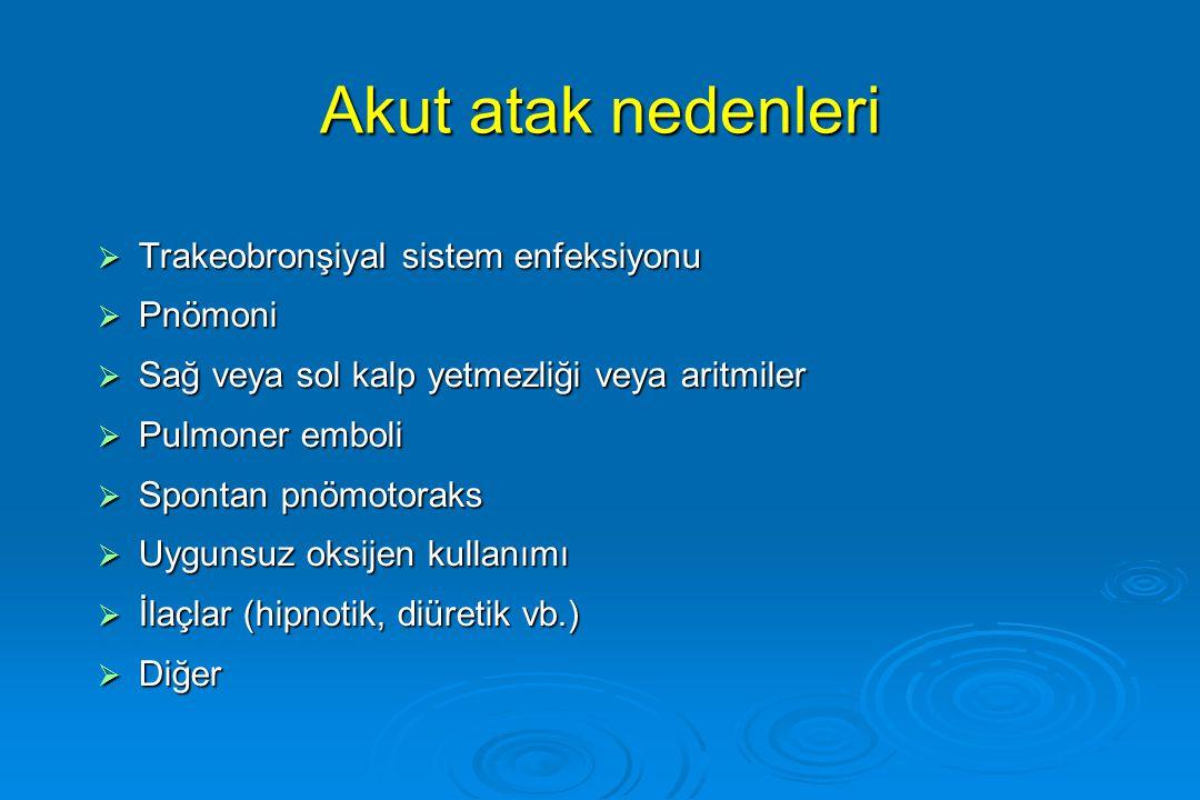 Akut atak nedenleri Trakeobronşiyal sistem enfeksiyonu Pnömoni