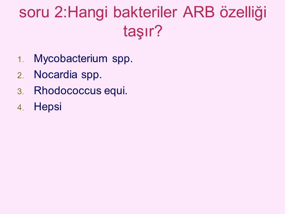 soru 2:Hangi bakteriler ARB özelliği taşır