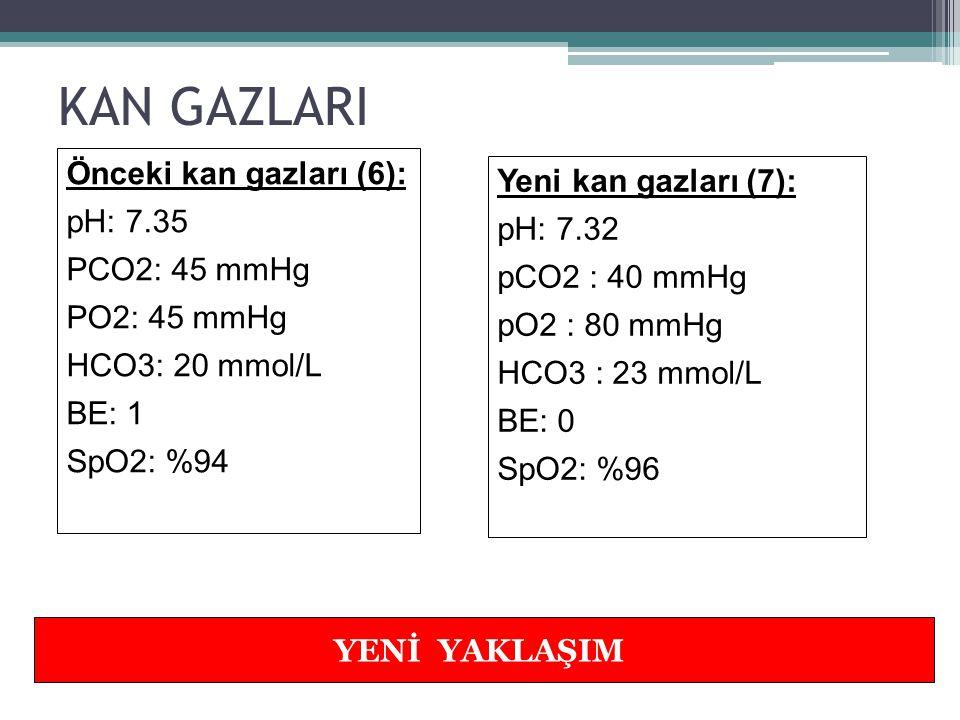 KAN GAZLARI Önceki kan gazları (6): Yeni kan gazları (7): pH: 7.35