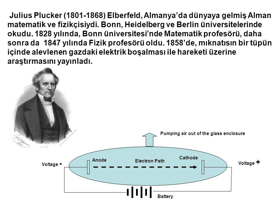 Julius Plucker (1801-1868) Elberfeld, Almanya'da dünyaya gelmiş Alman matematik ve fizikçisiydi. Bonn, Heidelberg ve Berlin üniversitelerinde okudu. 1828 yılında, Bonn üniversitesi'nde Matematik profesörü, daha sonra da 1847 yılında Fizik profesörü oldu. 1858'de, mıknatısın bir tüpün içinde alevlenen gazdaki elektrik boşalması ile hareketi üzerine araştırmasını yayınladı.