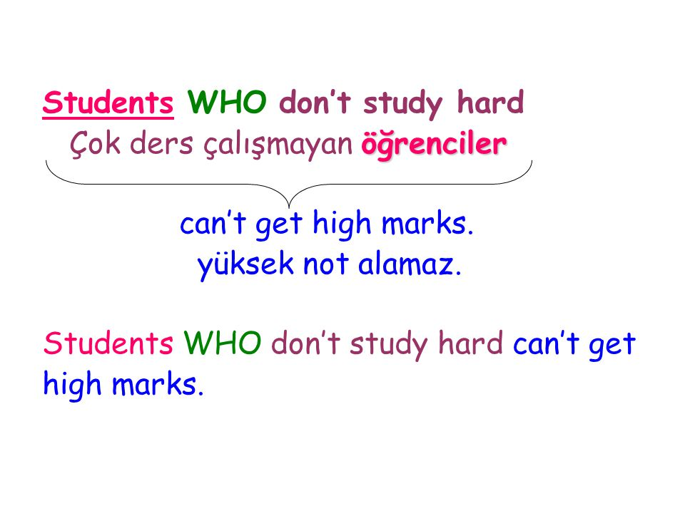 Students WHO don't study hard