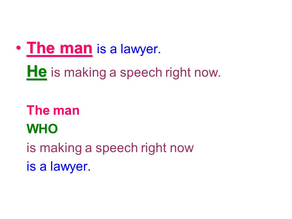 The man is a lawyer. He is making a speech right now. The man WHO