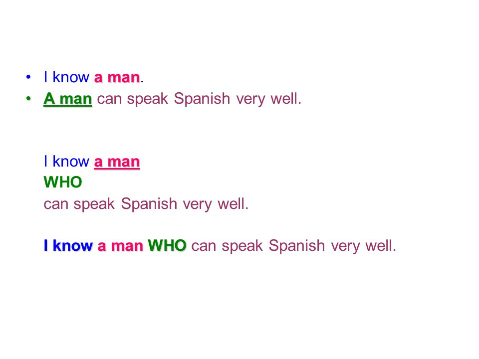 I know a man. A man can speak Spanish very well. I know a man. WHO. can speak Spanish very well.