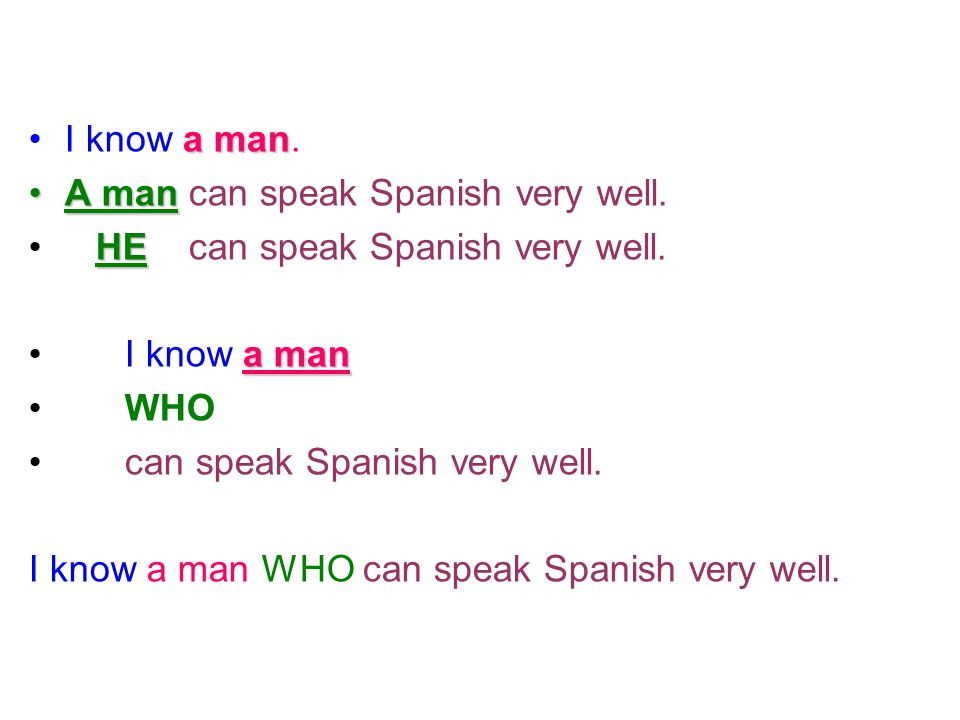 I know a man. A man can speak Spanish very well. HE can speak Spanish very well. I know a man.