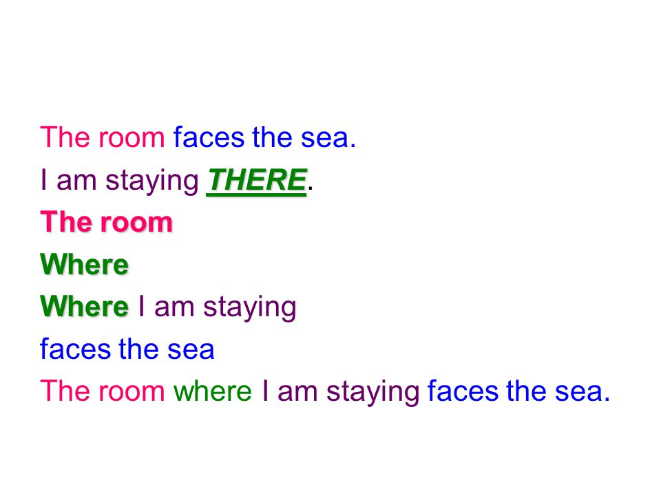 The room faces the sea. I am staying THERE. The room. Where. Where I am staying. faces the sea.