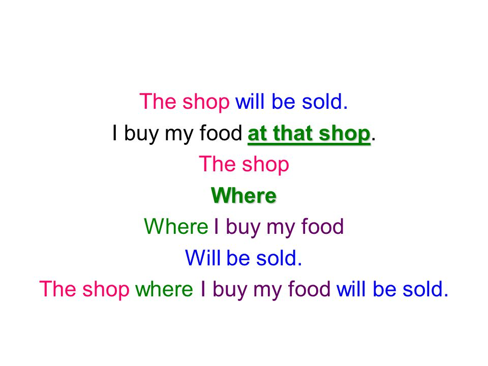 I buy my food at that shop. The shop Where Where I buy my food