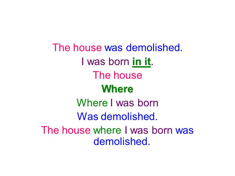 The house was demolished. I was born in it. The house Where