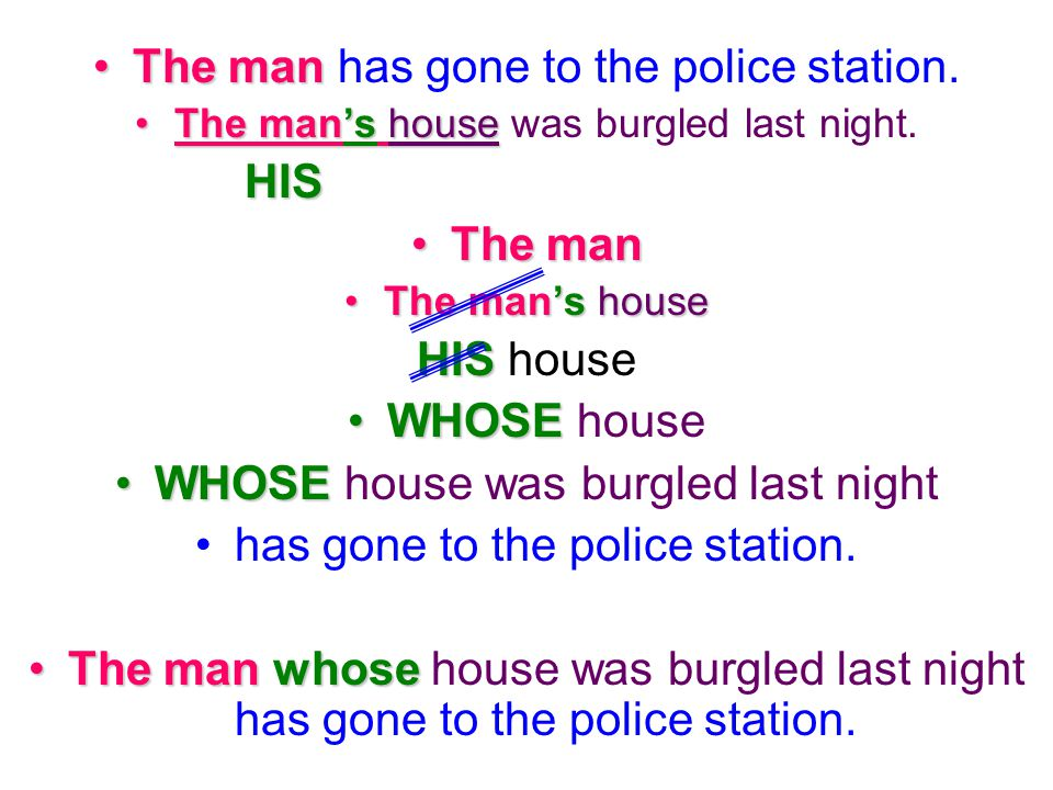 The man has gone to the police station. HIS The man HIS house