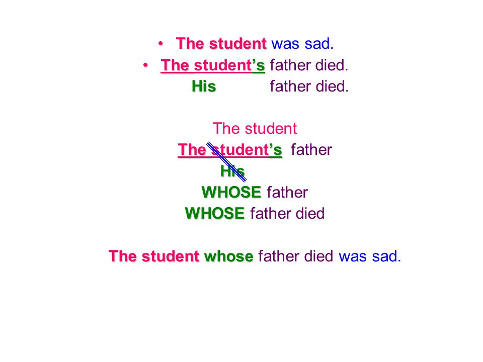 The student's father died. His father died. The student