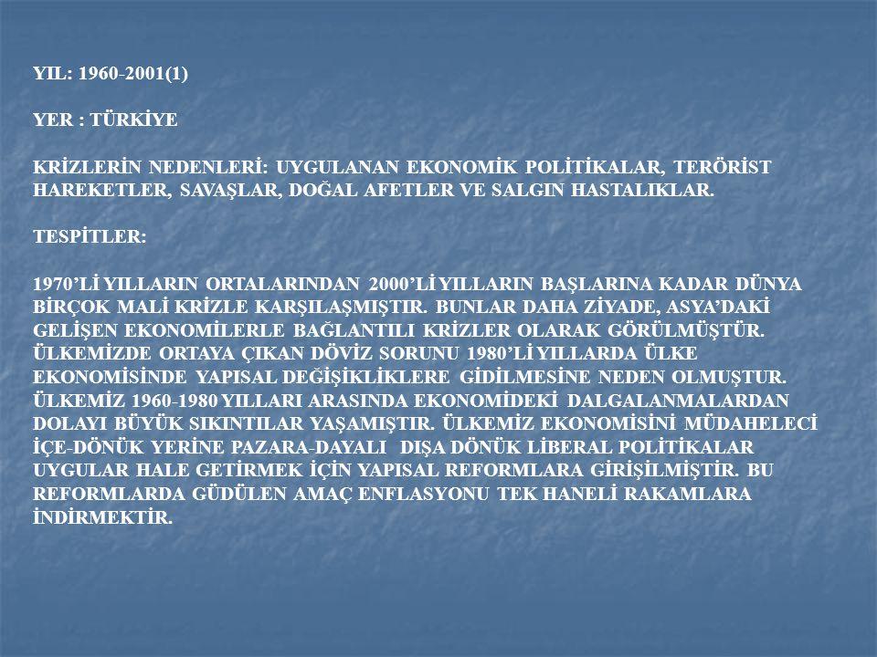 YIL: 1960-2001(1) YER : TÜRKİYE.