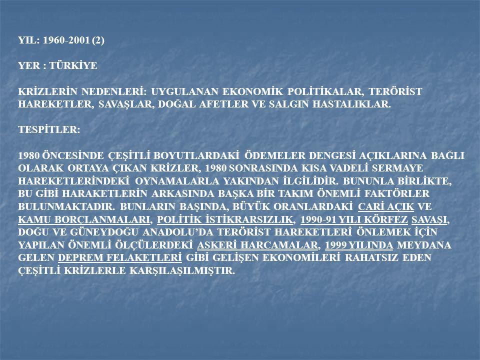 YIL: 1960-2001 (2) YER : TÜRKİYE.