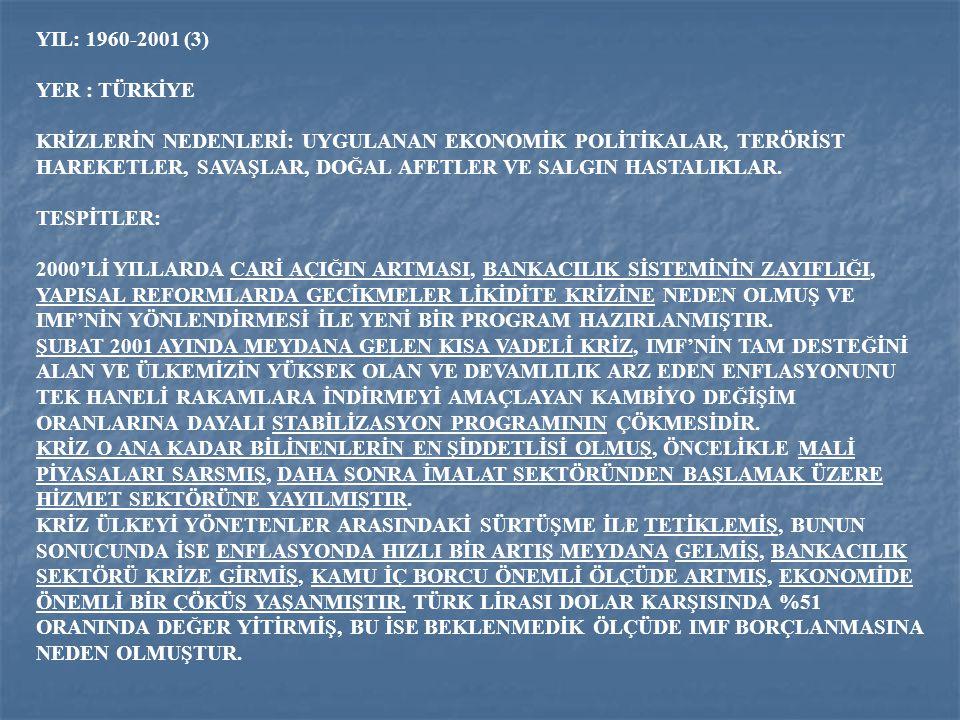 YIL: 1960-2001 (3) YER : TÜRKİYE.