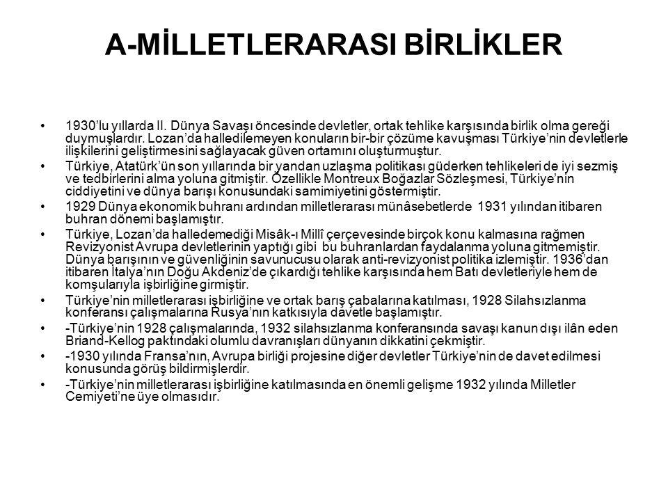A-MİLLETLERARASI BİRLİKLER