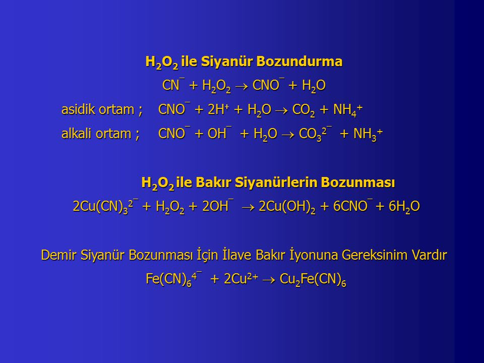 H2O2 ile Siyanür Bozundurma CN¯ + H2O2  CNO¯ + H2O