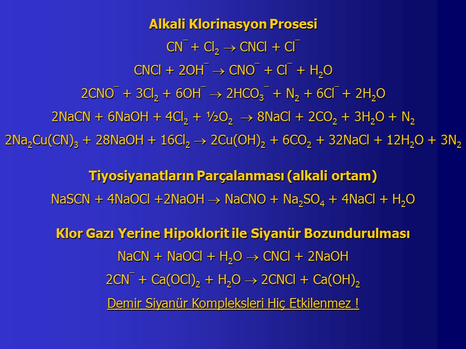 Alkali Klorinasyon Prosesi CN¯ + Cl2  CNCl + Cl¯