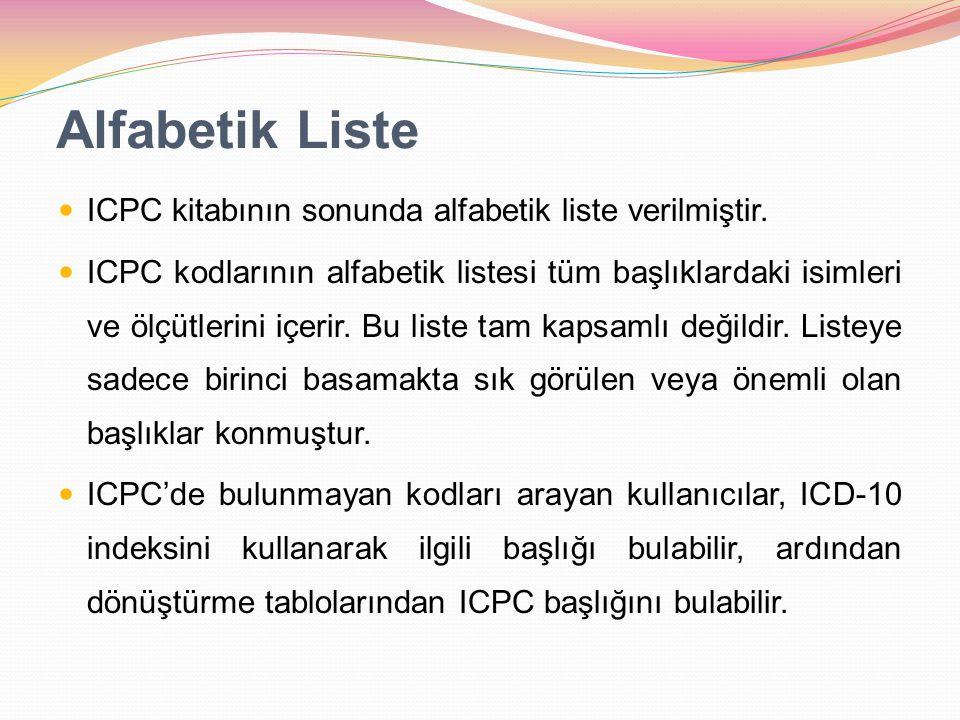 Alfabetik Liste ICPC kitabının sonunda alfabetik liste verilmiştir.