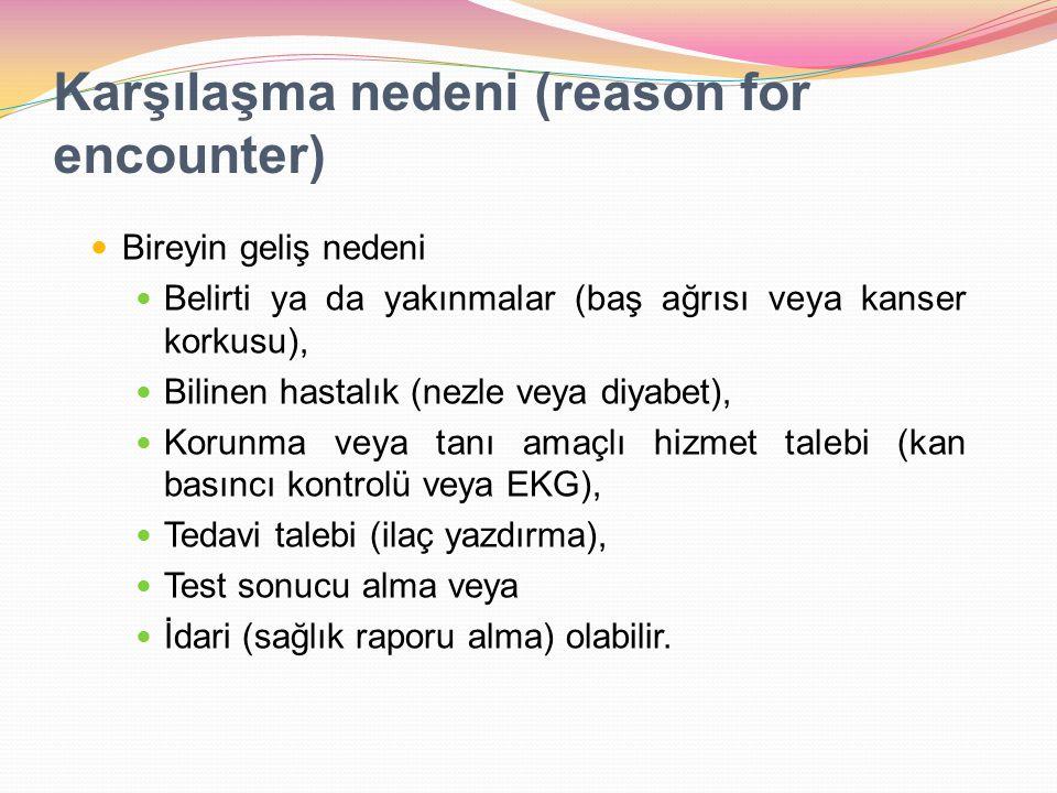 Karşılaşma nedeni (reason for encounter)