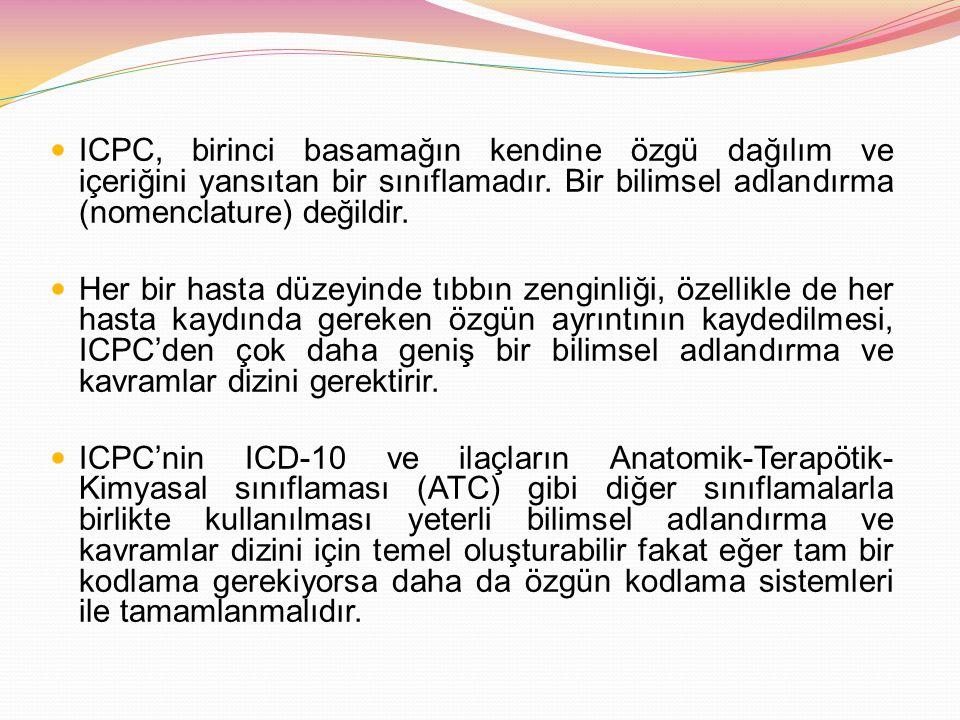 ICPC, birinci basamağın kendine özgü dağılım ve içeriğini yansıtan bir sınıflamadır. Bir bilimsel adlandırma (nomenclature) değildir.
