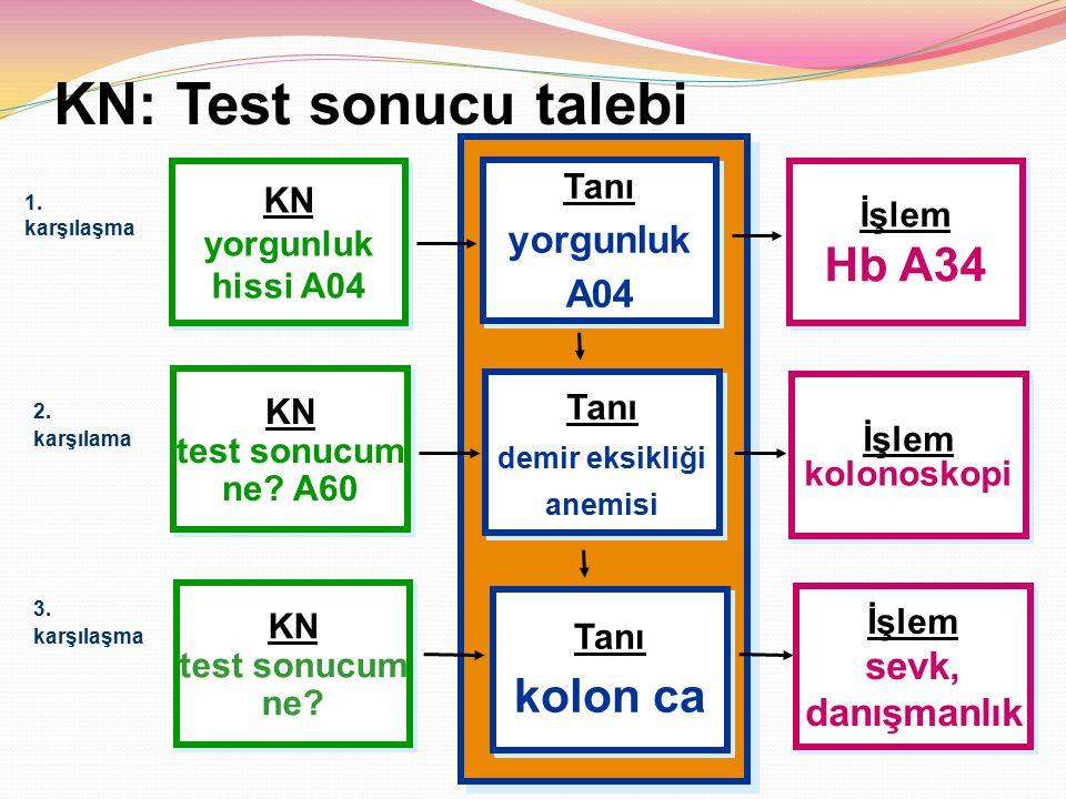 KN: Test sonucu talebi Hb A34 kolon ca yorgunluk A04 sevk, danışmanlık